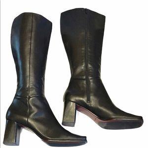 Nine West Tall Black Heeled Boots Size 11